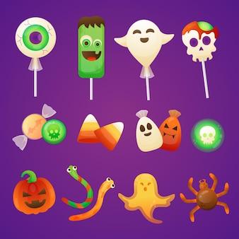 Coleção gradiente de doces de halloween