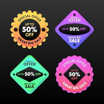 Coleção gradiente de etiqueta de venda