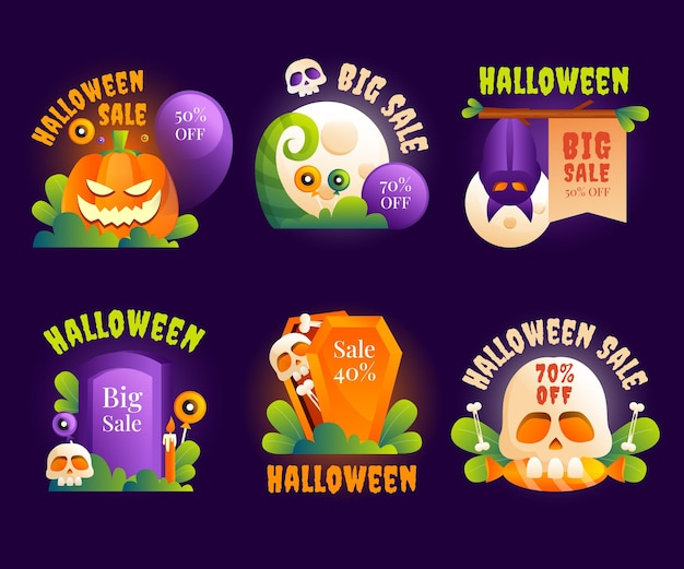 Coleção gradiente de etiquetas de liquidação de halloween