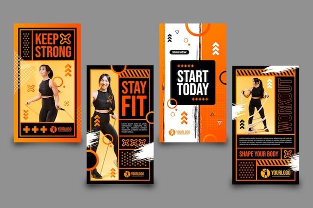 Coleção gradiente de história de saúde e fitness com foto