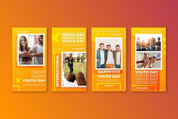 Coleção gradiente de histórias do dia internacional da juventude com foto