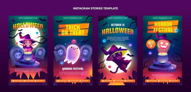 Coleção gradiente de histórias do instagram de halloween