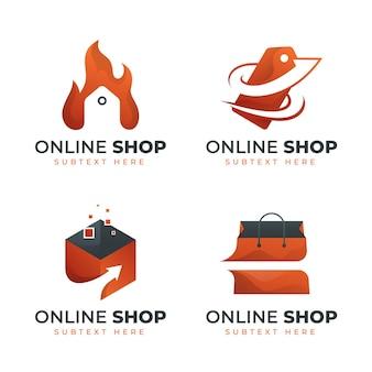 Coleção gradiente de logotipo da loja online