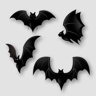 Coleção gradiente de morcegos de halloween