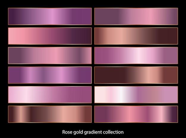 Coleção gradiente de ouro rosa.