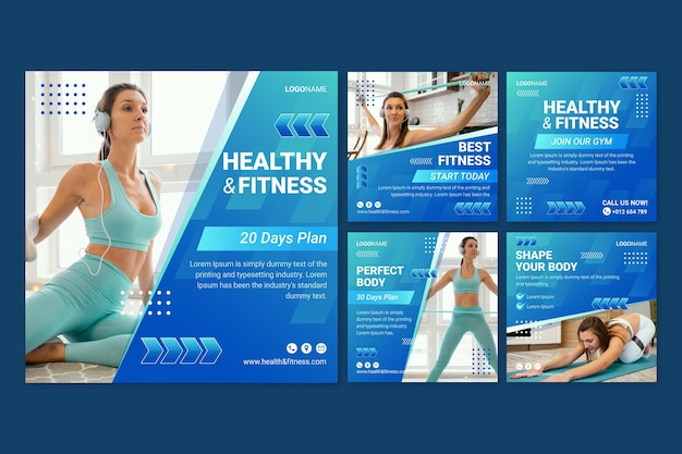 Coleção gradiente de postagens de saúde e condicionamento físico com foto