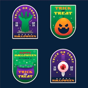 Coleção gradiente de rótulos de halloween