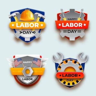 Coleção gradiente de rótulos do dia do trabalho