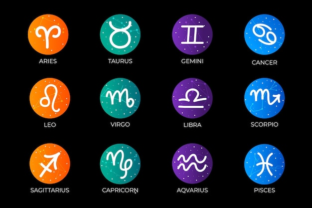 Coleção gradiente de signos do zodíaco