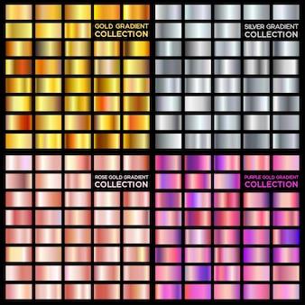 Coleção gradiente ouro, prata, ouro roxo, rosa. cores da tendência. textura de metal.