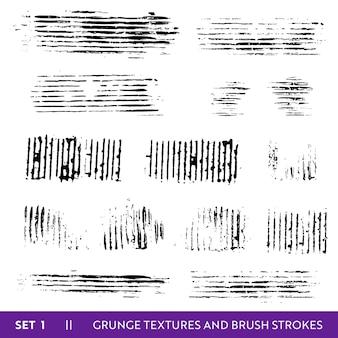 Coleção grunge de traços de pincel de tinta. conjunto de elementos de design sujo. respingos de tinta, linhas sujas à mão livre. ilustração vetorial