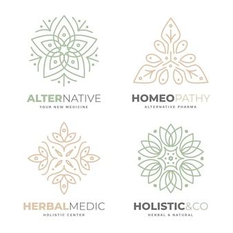 Coleção holística de logotipo desenhado à mão