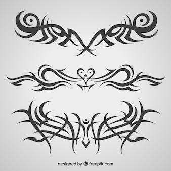 Coleção horizontal de tatuagens tribais