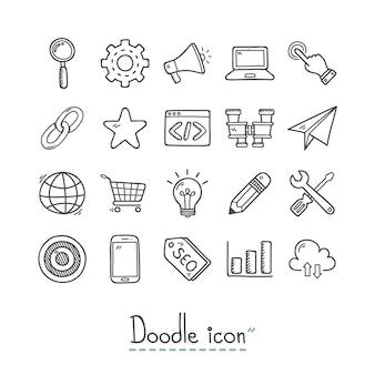 Coleção ícones desenhados mão do negócio