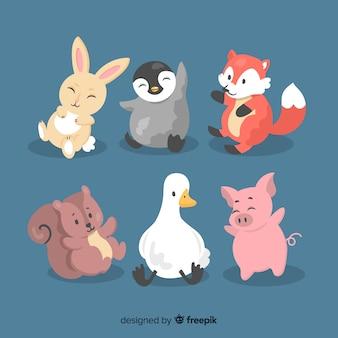 Coleção ilustrada de animais coloridos de design plano