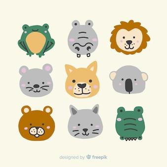 Coleção ilustrada de animais fofos