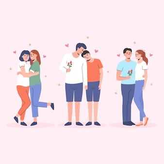 Coleção ilustrada de casais diferentes