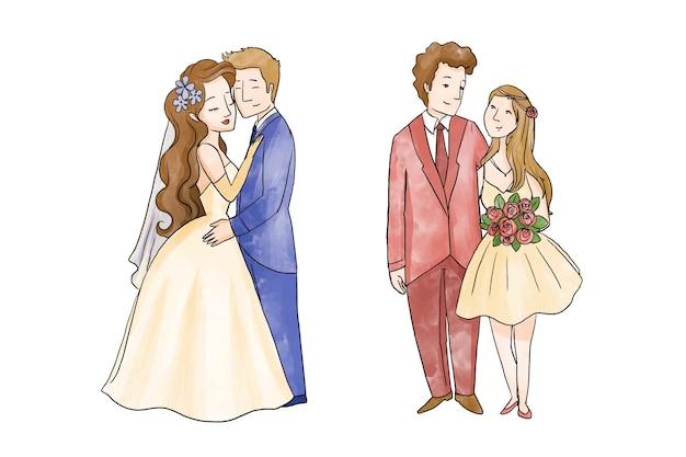 Coleção ilustrada de casal de noivos