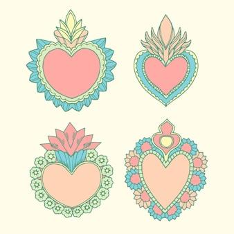 Coleção ilustrada de coração sagrado