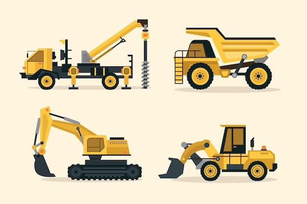 Coleção ilustrada de escavadeiras