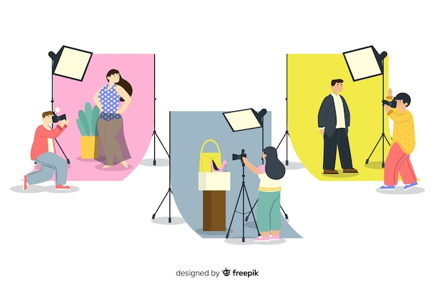 Coleção ilustrada de fotógrafos trabalhando