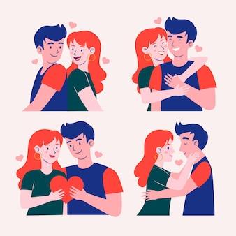 Coleção ilustrada de namorado e namorada