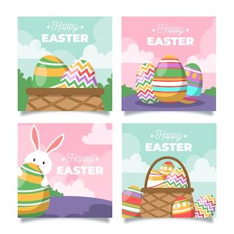 Coleção ilustrada de posts do instagram do dia da páscoa