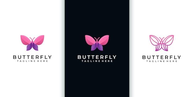 Coleção incrível de logo de borboletas,