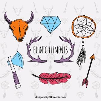 Coleção indiano de elementos desenhados à mão