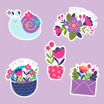 Coleção infantil de adesivos de primavera