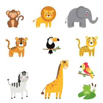 Coleção infantil de animais africanos bonito dos desenhos animados.