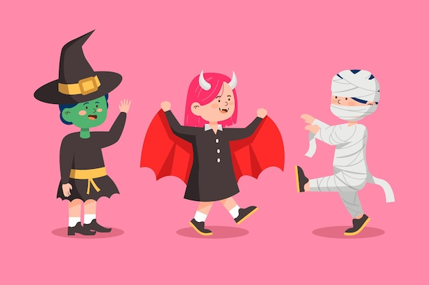 Coleção infantil de halloween de design plano