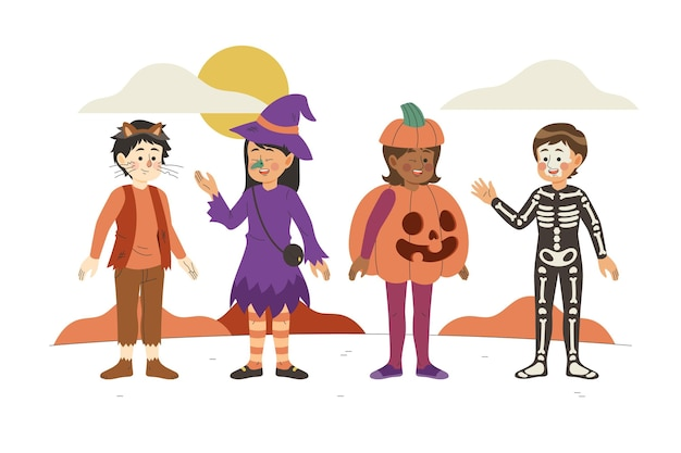 Coleção infantil de halloween desenhado à mão