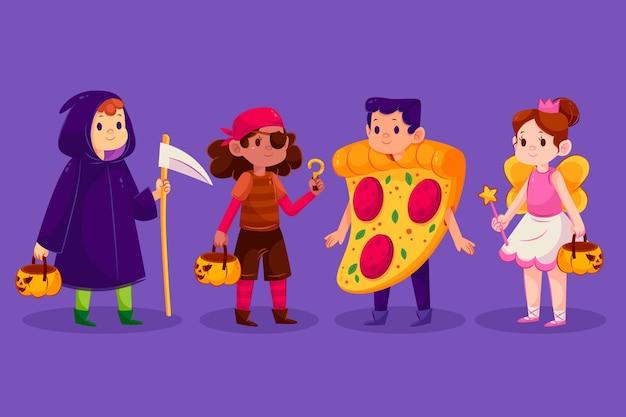 Coleção infantil gradiente de halloween