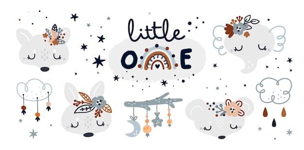 Coleção infantil milestone com desenhos animados de animais bebês e elementos de decoração infantil