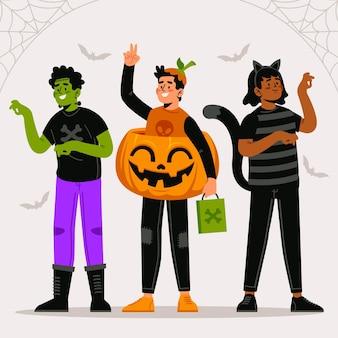 Coleção infantil plana de halloween