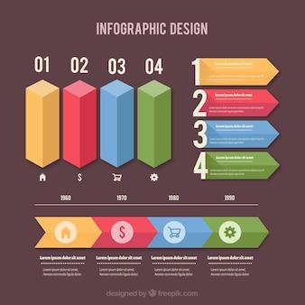 Coleção infográfico colorido