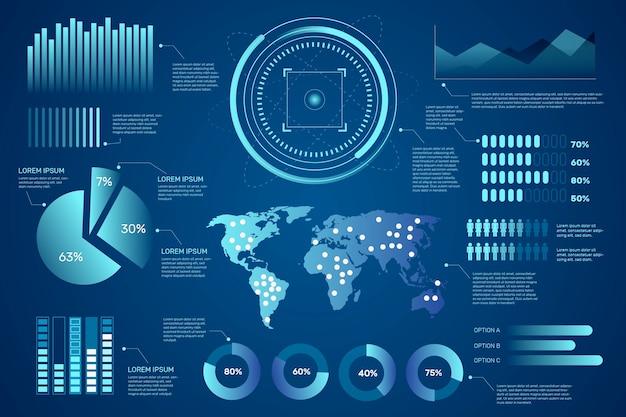 Coleção infográfico futurista
