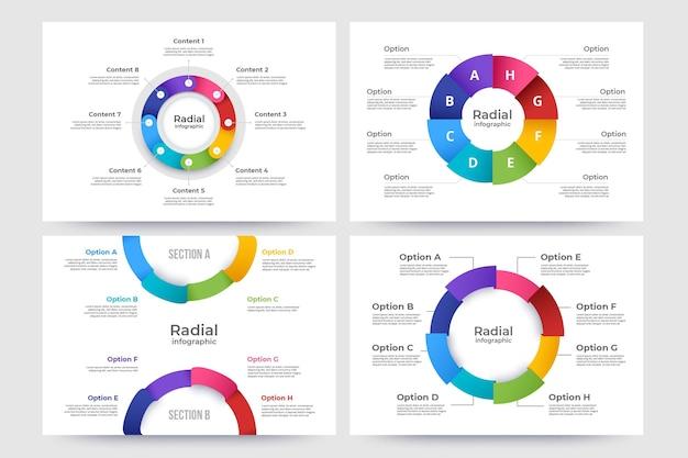 Coleção infográfico radial plana