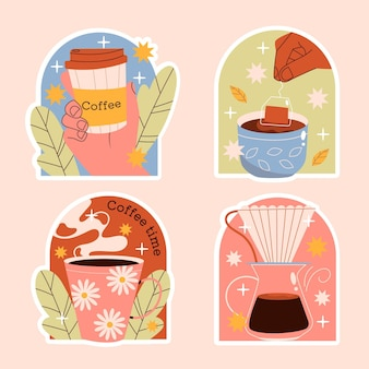 Coleção ingênua de adesivos de café e chá