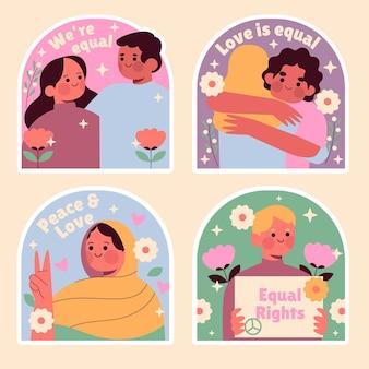 Coleção ingênua de adesivos de igualdade