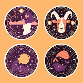 Coleção ingênua de adesivos de signos astrológicos