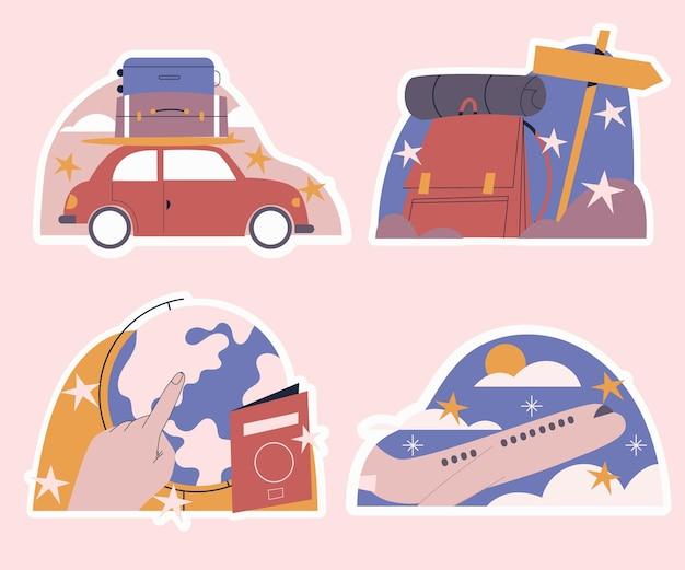 Coleção ingênua de adesivos de viagens
