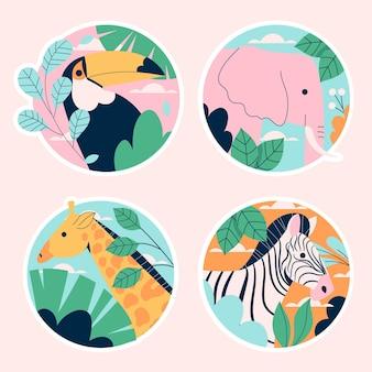 Coleção ingênua de adesivos de vida selvagem
