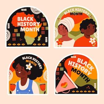 Coleção ingênua de adesivos do mês da história negra
