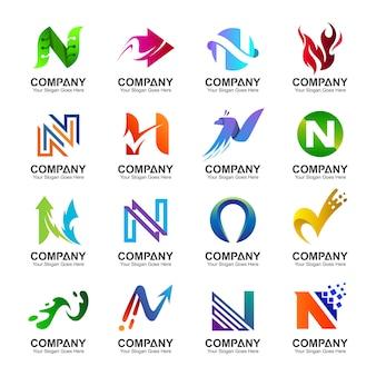 Coleção inicial de design de logotipo da letra n