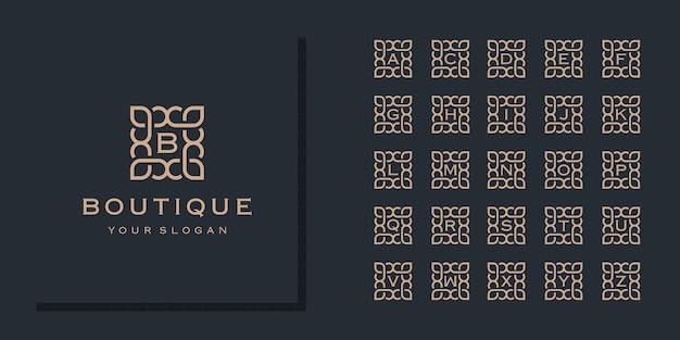 Coleção inicial de letras do alfabeto com modelo de logotipo de moldura de flores ornamentais