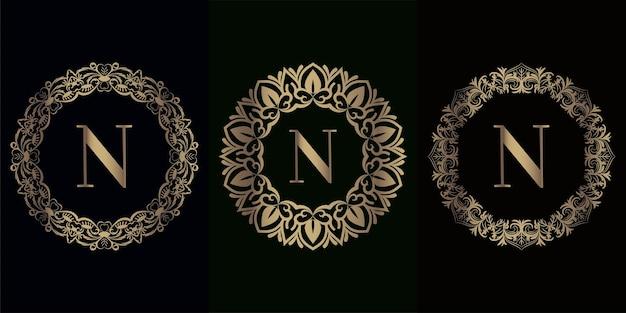 Coleção inicial do logotipo com moldura de ornamento de mandala de luxo