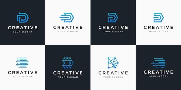 Coleção inicial do logotipo d com elementos de tecnologia