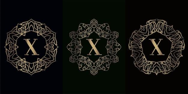 Coleção inicial do logotipo x com moldura de ornamento de mandala de luxo